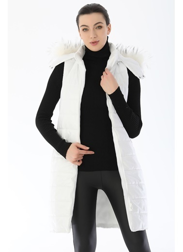 Emjey Kapüşon Kürklü Şişme Yelek Beyaz